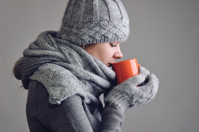 drink warm fluids to help raise your body's temperature