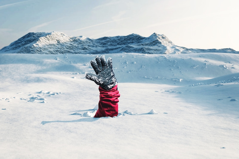 Hold Hand Above Snow to Be Visible After an Avalanche